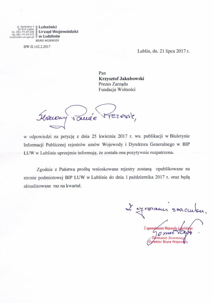 Odpowiedź Wojewody na petycję ws publikacji rejestrów umów